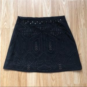 Navy suede fully beaded skirt
